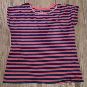 Coral/Navy stripe top with beaded accent neckline